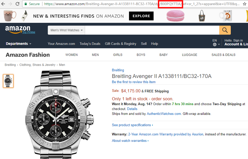 Amazon ASIN Number for a Breitling Watch