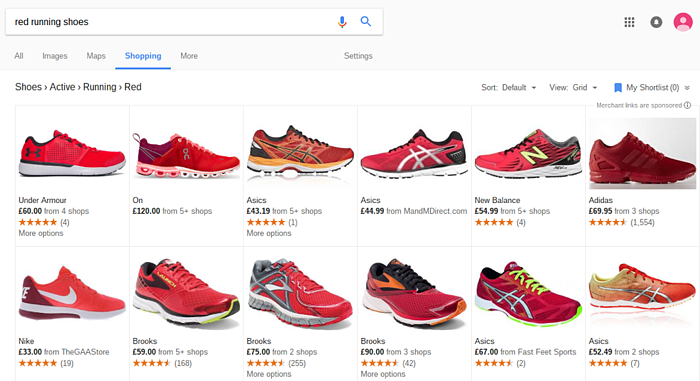 Google Shopping Red Running Shoes