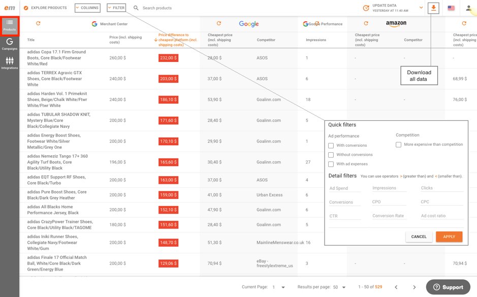 DataFeedWatch Price Monitoring with adidas